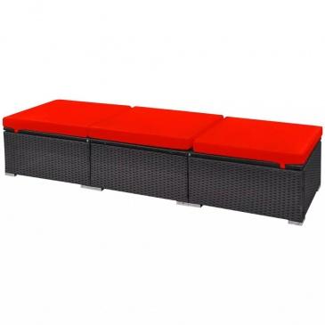 13-cz. zestaw mebli do ogrodu, poduszki, rattan PE, czerwony