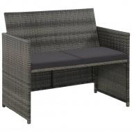2-osobowa sofa ogrodowa z poduszkami, polirattan, szara