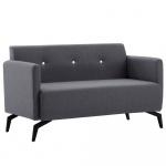 2-osobowa sofa tapicerowana tkaniną, 115x60x67 cm, ciemnoszara