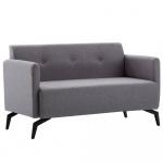 2-osobowa sofa tapicerowana tkaniną, 115x60x67 cm, jasnoszara