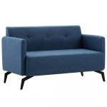 2-osobowa sofa tapicerowana tkaniną, 115x60x67 cm, niebieska
