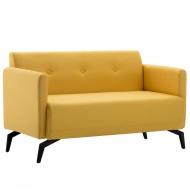 2-osobowa sofa tapicerowana tkaniną, 115x60x67 cm, żółta