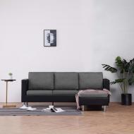 3-osobowa sofa z poduszkami, czarna, sztuczna skóra