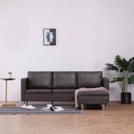 3-osobowa sofa z poduszkami, szara, sztuczna skóra