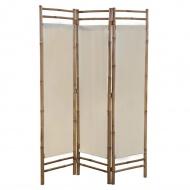 3-panelowy, składany parawan bambus i płótno, 120 cm