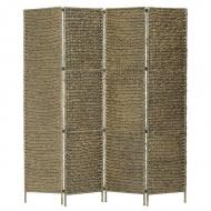 4-panelowy parawan pokojowy, brązowy, 154x160 cm, hiacynt wodny