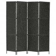 4-panelowy parawan pokojowy, czarny, 154x160 cm, hiacynt wodny