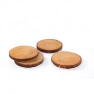4 podkładki, plastry drewna mango, śred. 10 x 1 cm