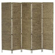 5-panelowy parawan pokojowy, brązowy, 193x160 cm, hiacynt wodny