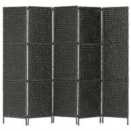 5-panelowy parawan pokojowy, czarny, 193x160 cm, hiacynt wodny