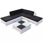 6-cz. zestaw wypoczynkowy do ogrodu, poduszki, rattan PE, biały