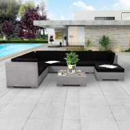 8-cz. zestaw wypoczynkowy do ogrodu, poduszki, beton, szary