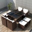 9-cz. zestaw mebli ogrodowych z poduszkami, rattan PE, brązowy