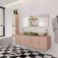 9 elementowy zestaw beżowych mebli łazienkowych i umywalka