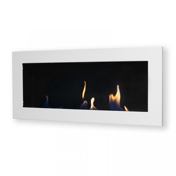 Biokominek dekoracyjny prostokątny 90x40 EcoFire Flat biały połysk EF-9040-0