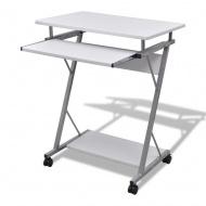 Biurko komputerowe z ruchomą podstawką na klawiaturę (Białe)