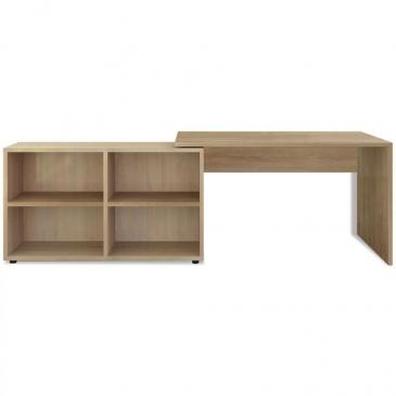 Biurko narożne z 4 półkami w kolorze drewna dębowego