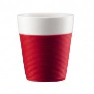 BODUM - Bistro - Zestaw dwóch kubków porcelanowych 2x300 ml - czerwone