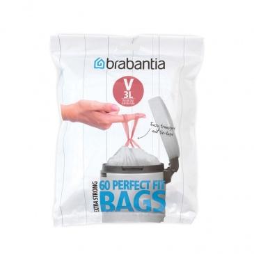 BRABANTIA - PerfectFit Bags - Worki na śmieci rozmiar V - 3 l - 60 szt.