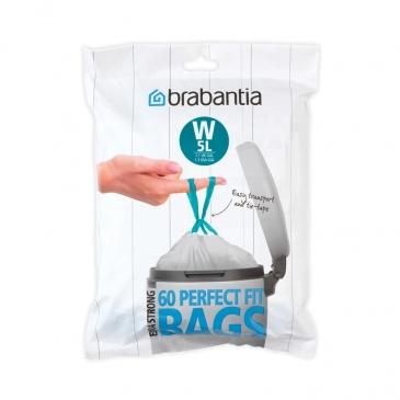 BRABANTIA - PerfectFit Bags - Worki na śmieci rozmiar W - 5 l - 60 szt.