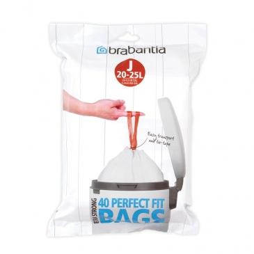 BRABANTIA - PerfectFit Bags - Worki na śmieci rozmiar J - 23 l - 40 szt.