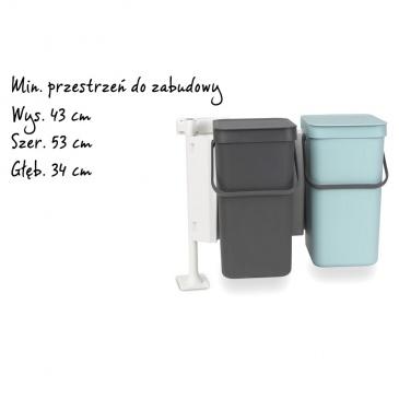 BRABANTIA - Sort   Go - Kosz szafkowy do segregacji odpadów 2 x 12 l - miętowo szary