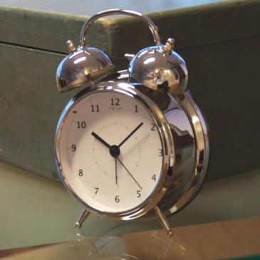 Budzik 20 cm NEXTIME Wake up silver