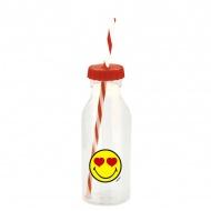 Butelka ze słomką 550ml Zak! Design Smiley czerwona