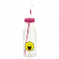 Butelka ze słomką 550ml Zak! Design Smiley fuksja