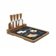 Deska bambusowa do serów z nożami 4szt Nuova R2S Woch-Wopa-Ictt