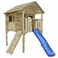 Domek dla dzieci ze zjeżdżalnią i drabinką, 360x255x295, drewno