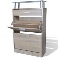 Drewniana szafka na buty z szufladą i szklaną półką, kolor dębu