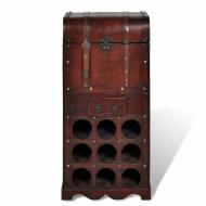 Drewniany stojak na 9 butelek z kufrem i szufladą