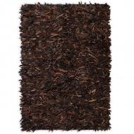 Dywan shaggy, prawdziwa skóra, 160x230 cm, brązowy
