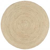 Dywanik ręcznie wykonany z juty, spiralny wzór, biały, 150 cm
