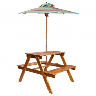 Dziecięcy stolik piknikowy z parasolem 79x90x60 cm, lita akacja
