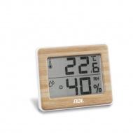 elektroniczny higrometr/termometr wewnętrzny, 10 x 8 x 1,5 cm, bambusowa rama