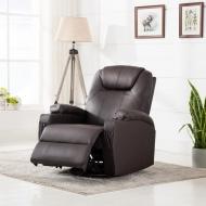 Elektryczny, bujany fotel do masażu, sztuczna skóra, brązowy