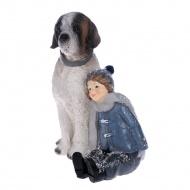 Figurka chłopczyk z psem 13x11x15 cm