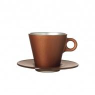Filiżanka espresso + spodek Leonardo Ooh! Magico brązowy metalik