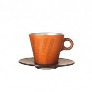 Filiżanka espresso z grafiką + spodek Leonardo Ooh! Magico brązowy metalik