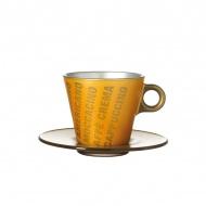 Filiżanka espresso z grafiką + spodek Leonardo Ooh! Magico złoty metalik