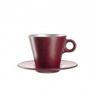 Filiżanka espresso z grafiką + spodek Leonardo Ooh! Magico czerwony metalik