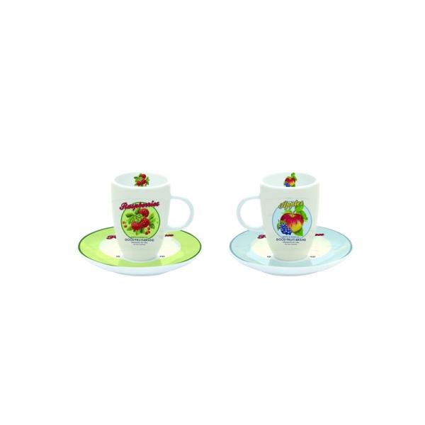 Filiżanki espresso z talerzykami 2 szt. Nuova R2S Nostalgie owoce 632 FRUS