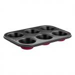 Forma do muffinek 6szt. Lamart Base czerwono-czarna