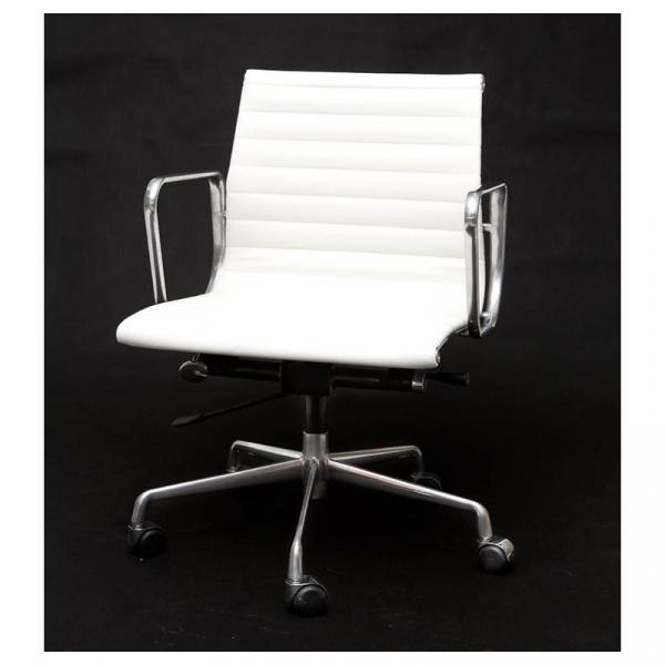 Fotel biurowy CH1171T biała skóra,chrom DK-27712