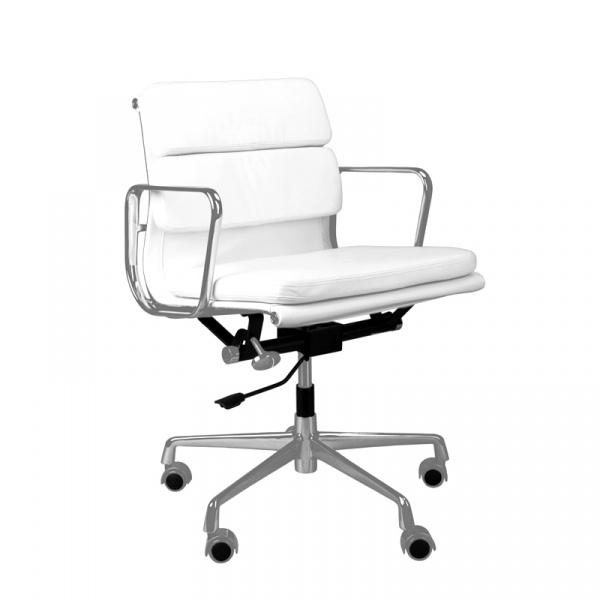 Fotel biurowy CH2171T biała skóra chrom 5902385706261
