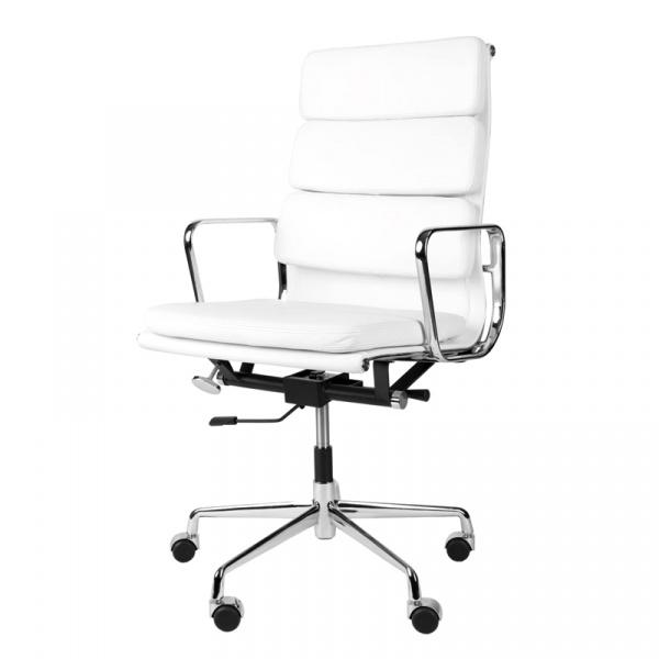 Fotel biurowy CH2191T biała skóra chrom DK-27748