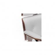 Fotel biurowy Tokyo : Kolor - biała skóra/jasny orzech