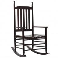 Fotel bujany z wygiętym siedziskiem, brązowy, drewniany